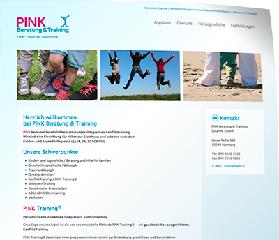 Website, optimiert für alle Browser, Tablets, Smartphones für Pink Training | Web Design von Wiegelmedia
